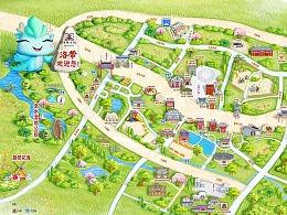 洛带古镇景区手绘地图