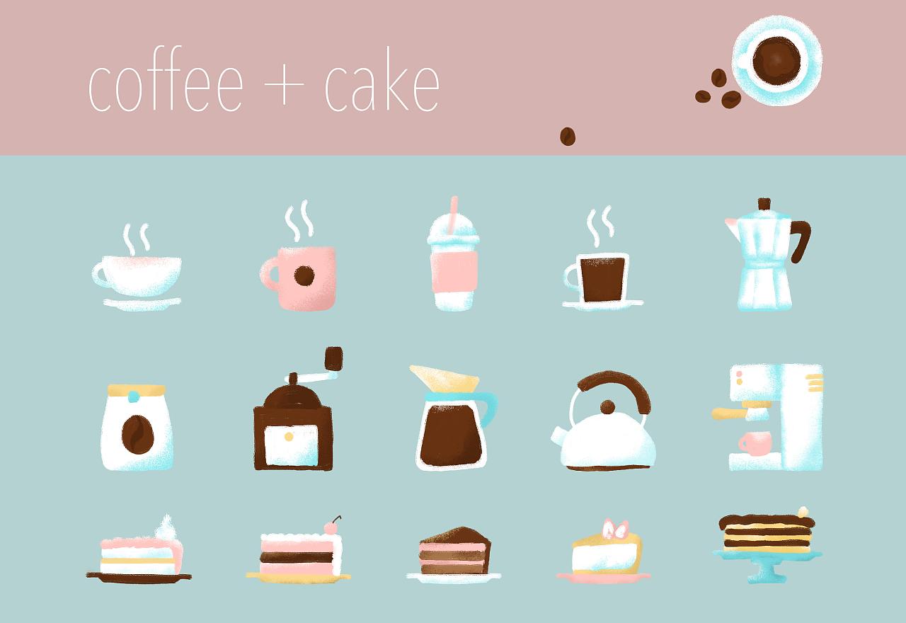 free手绘素材-咖啡蛋糕小物~~|插画|商业插画|nene