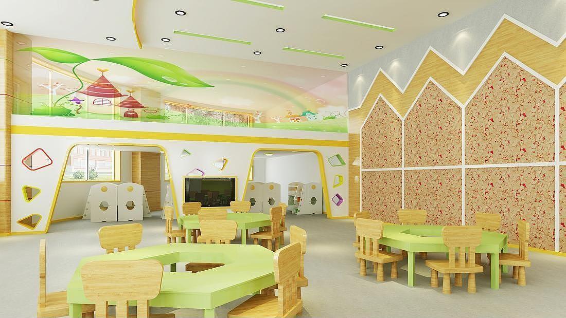 重庆幼儿园装修装饰/幼儿园室内设计/环境教室布置美容店宣传单设计素材图片