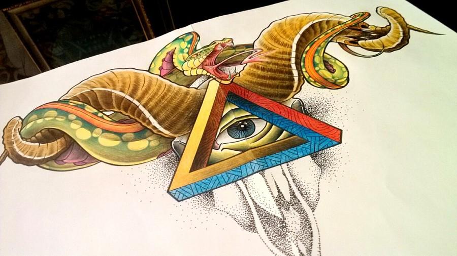 原创作品:纹身手稿——胸花