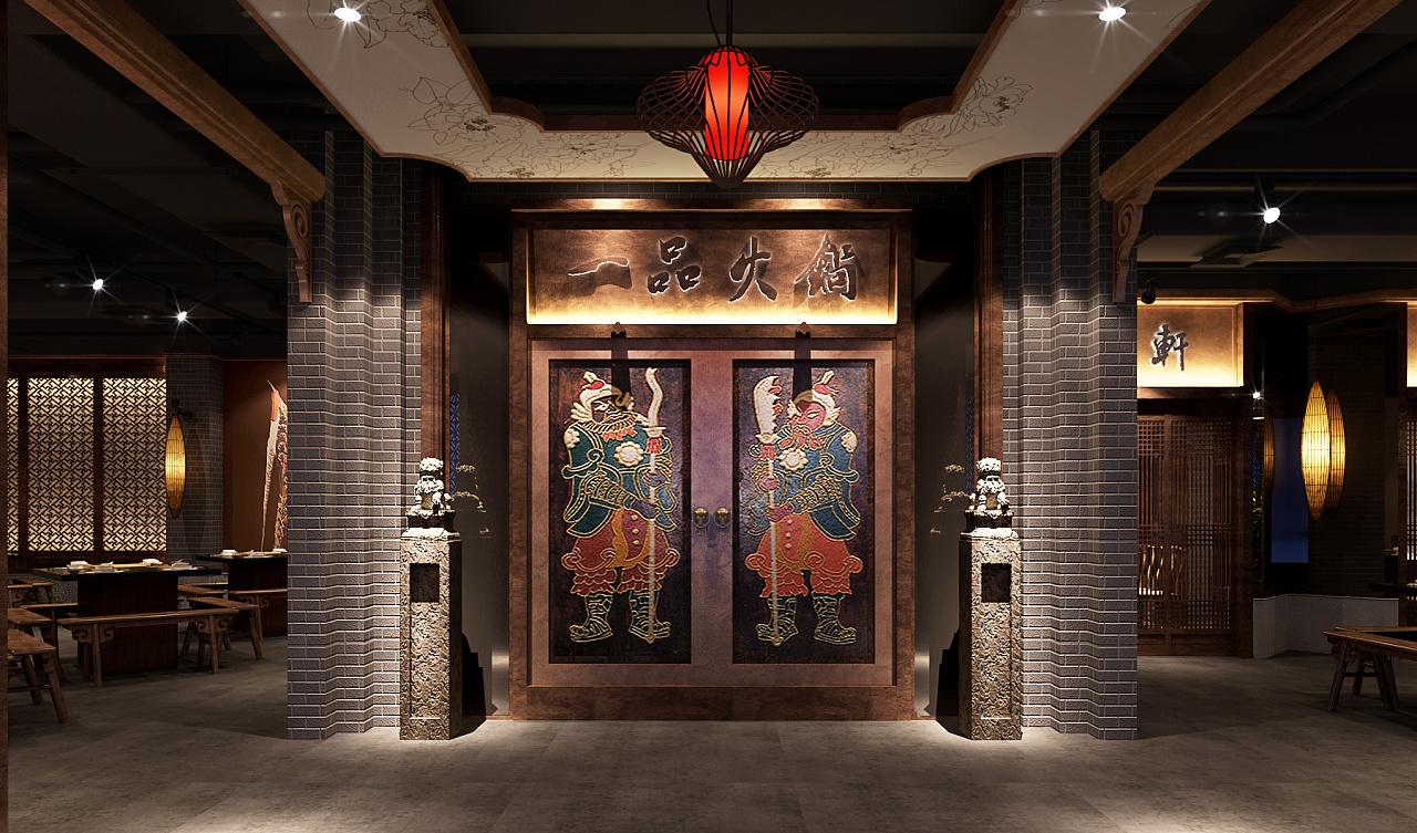 中式风格一品汤锅店-山东火锅店装修|山东火锅店设计图片