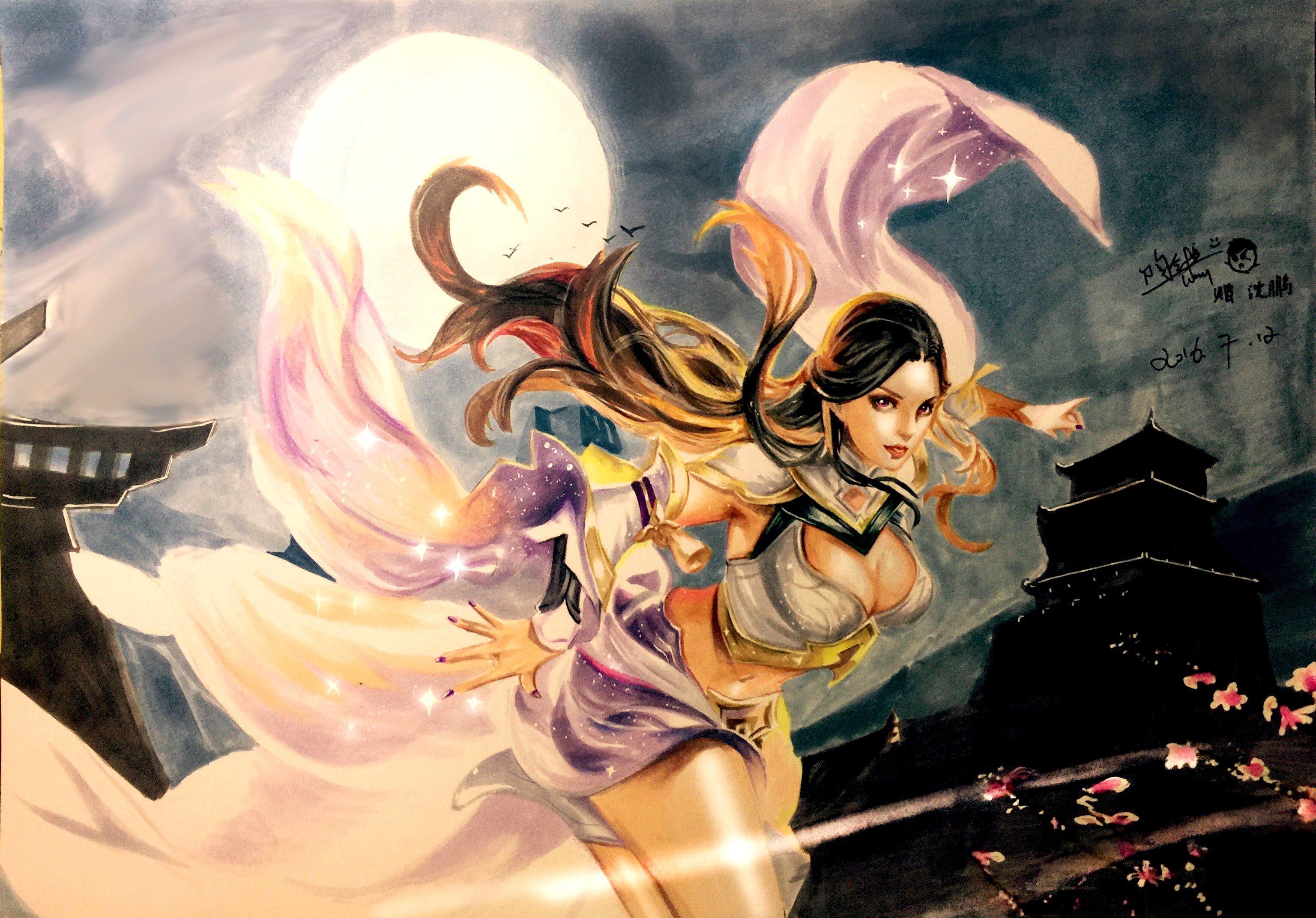 马克笔手绘王者荣耀原画紫霞仙子,背景马克笔没水了…结果就有点粗糙
