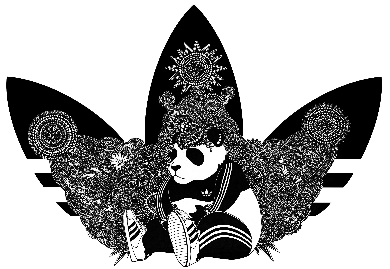 经过一番讨论修改,最终版大熊猫,变得更cool了,整个三叶草logo也更加图片