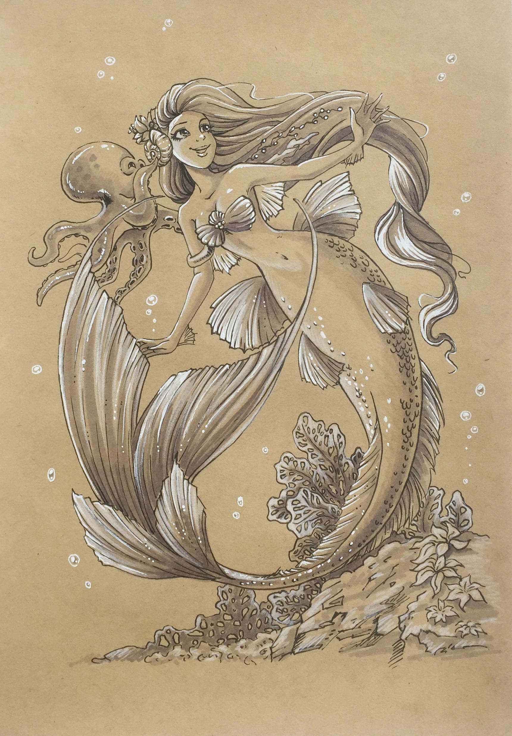 手绘美人鱼和奇妙仙子小叮当
