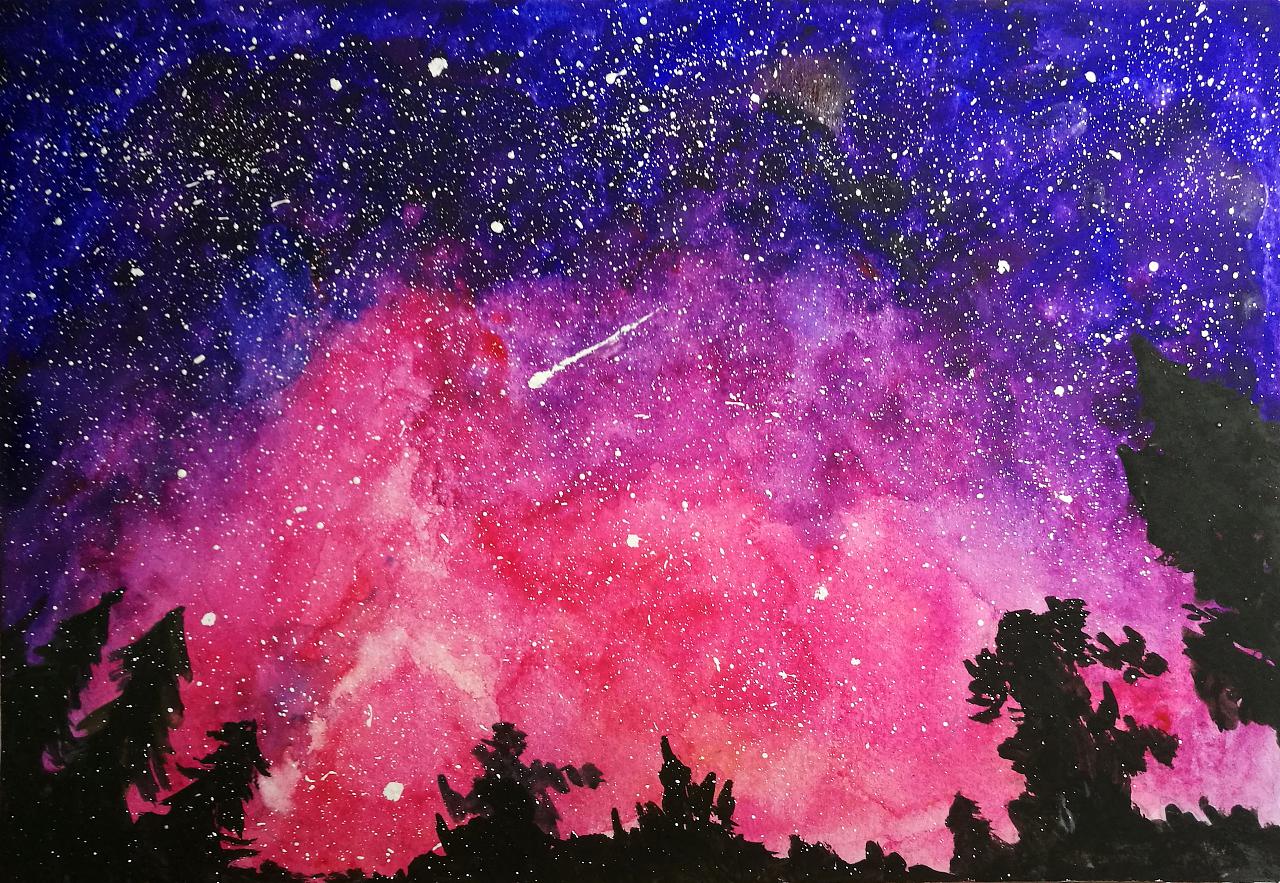 最近爱上的水彩星空|纯艺术|水彩|first景 - 原创作品
