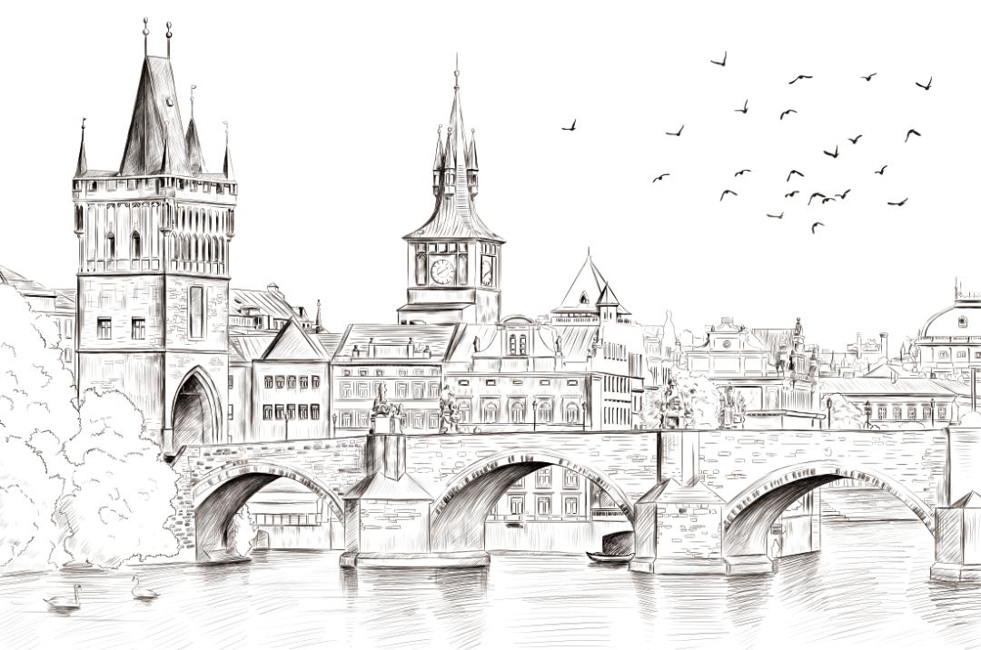黑白城市--城市手绘