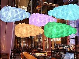 商场中庭蚕丝棉花仿真云朵装饰吊挂道具制作工厂铭星厂