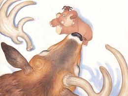 《猛犸象日记》绘本内文插图设计