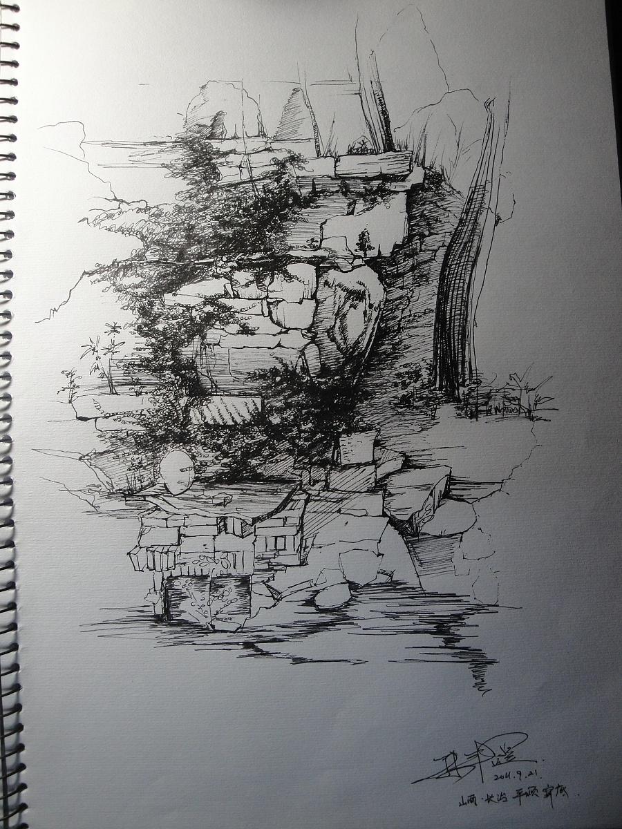 风景手绘|钢笔画|纯艺术|design sun - 原创设计作品