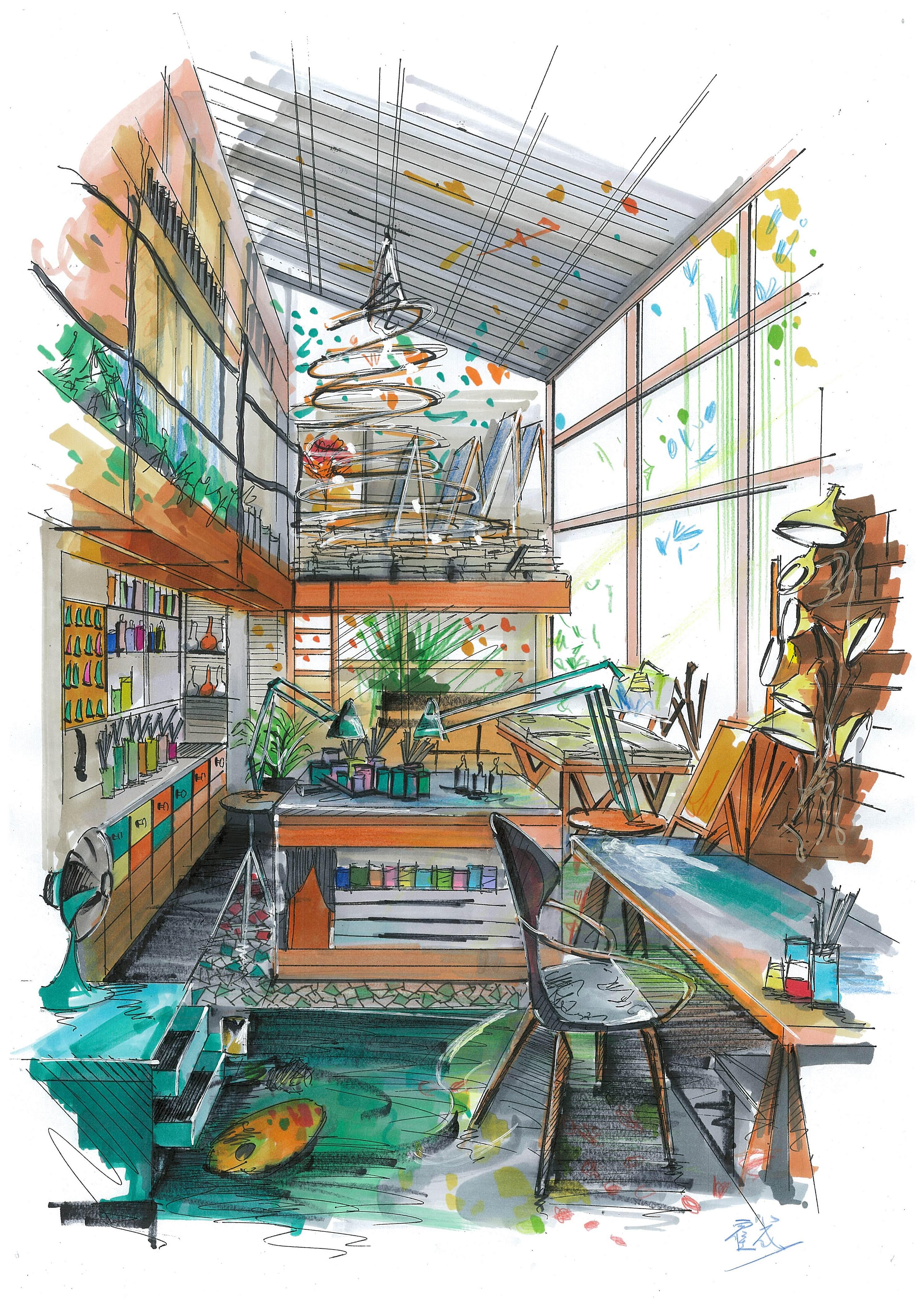 室内手绘表现|空间|室内设计|蠢人院执行院长 - 原创