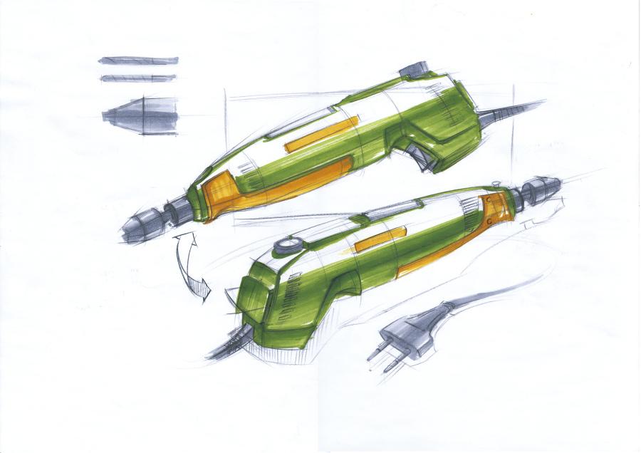迷你电钻产品设计手绘步奏|工业用品/机械|工录制宏的步骤图片