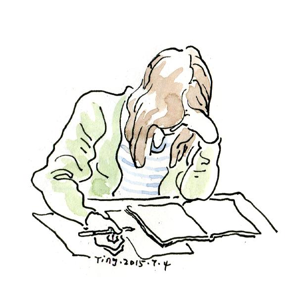 学霸学习手绘插画