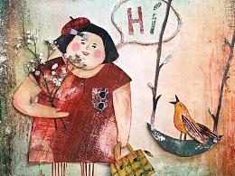 拼贴-胖阿姨与小鸟