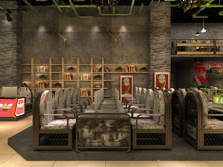 网咖门头_王者网咖-网咖吧台装修设计效果图,网咖装修设计风格,网咖门头装修