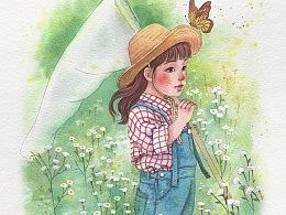 水彩小女孩和野花的步骤图