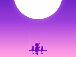 孩子与猫,秋千的故事—日常插画练习