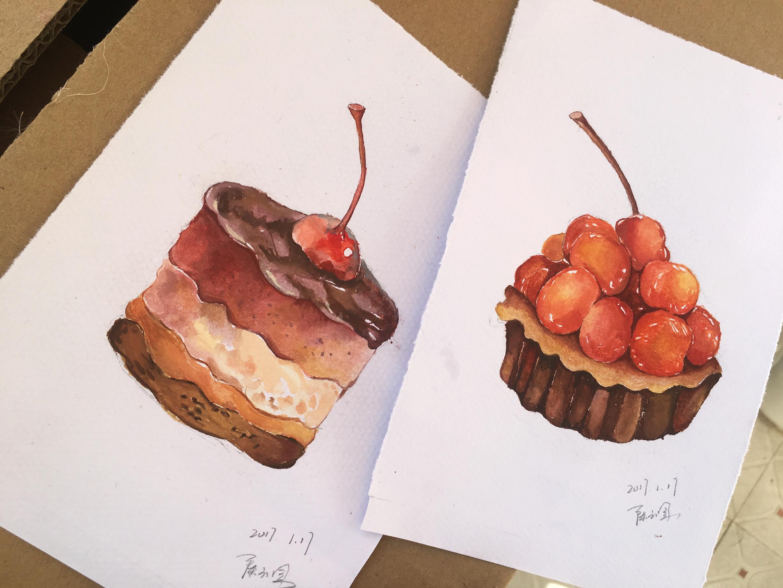 手绘水彩小清新蛋糕