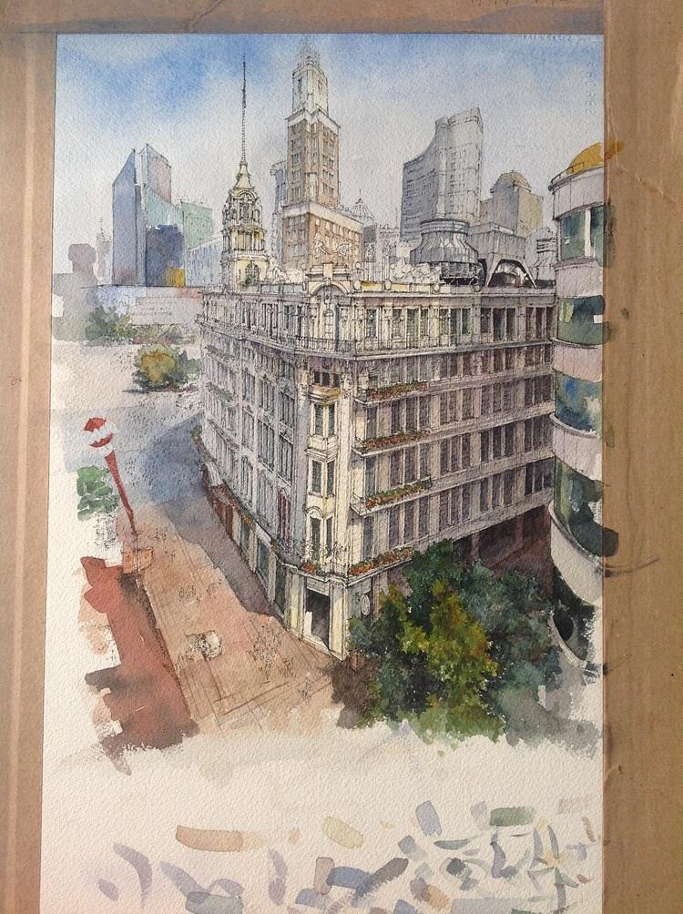 建筑手绘—上海街道俯视