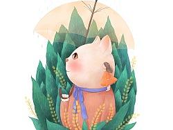 五月插画-猫咪·女孩·节气