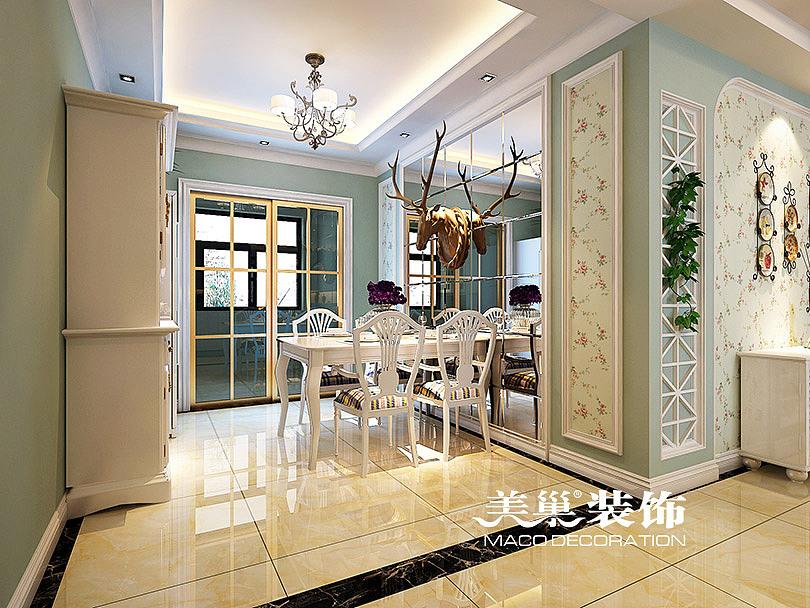 升龙又一城134平三室两厅美式乡村装修案例