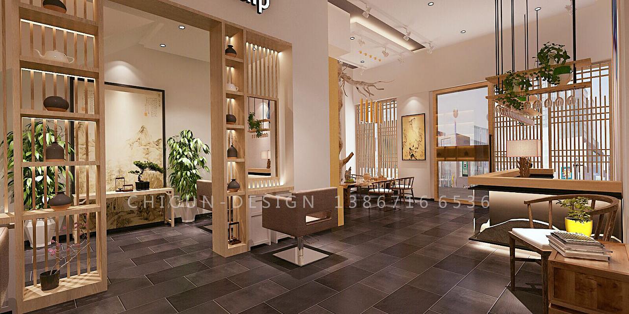 尺寸设计|芨草养发馆空间设计 发廊新中式设计效果图