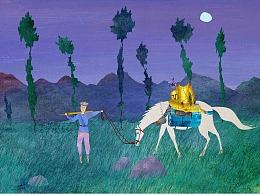 <<玻璃山上的公主>> 上篇    北欧童话故事绘本  拼贴