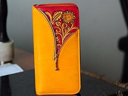 中国风创意红色拉链皮雕钱包