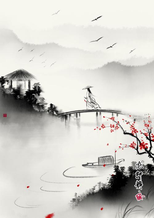 水墨意境古风插画合集|插画|商业插画|插画师龙轩静