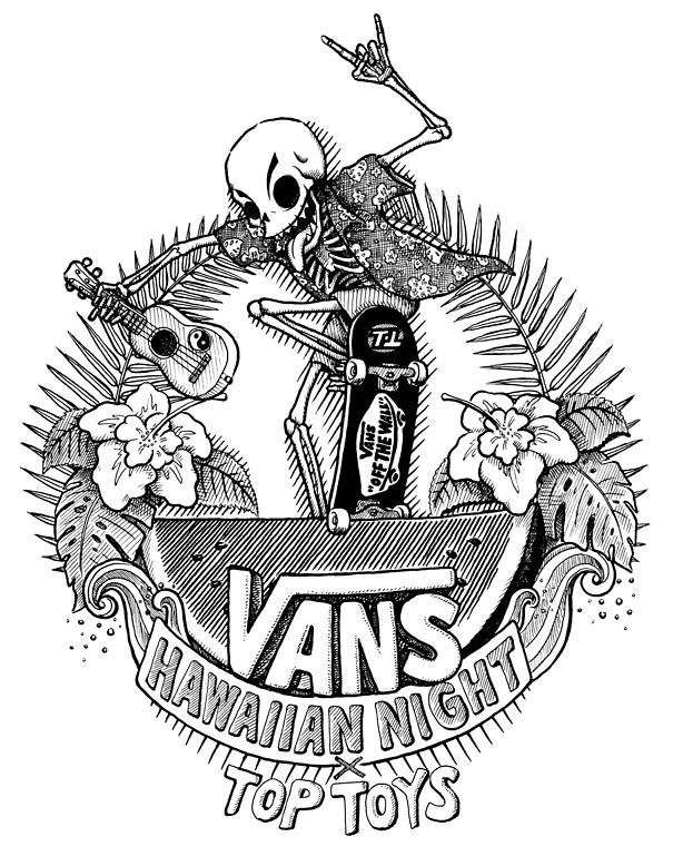vansxtoptoys 夏威夷主题体恤图案 黑色单线 手绘