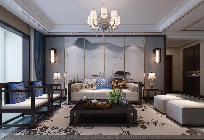 祝福红城130平新中式风格三室两厅装修需要多少钱---沙发背景墙