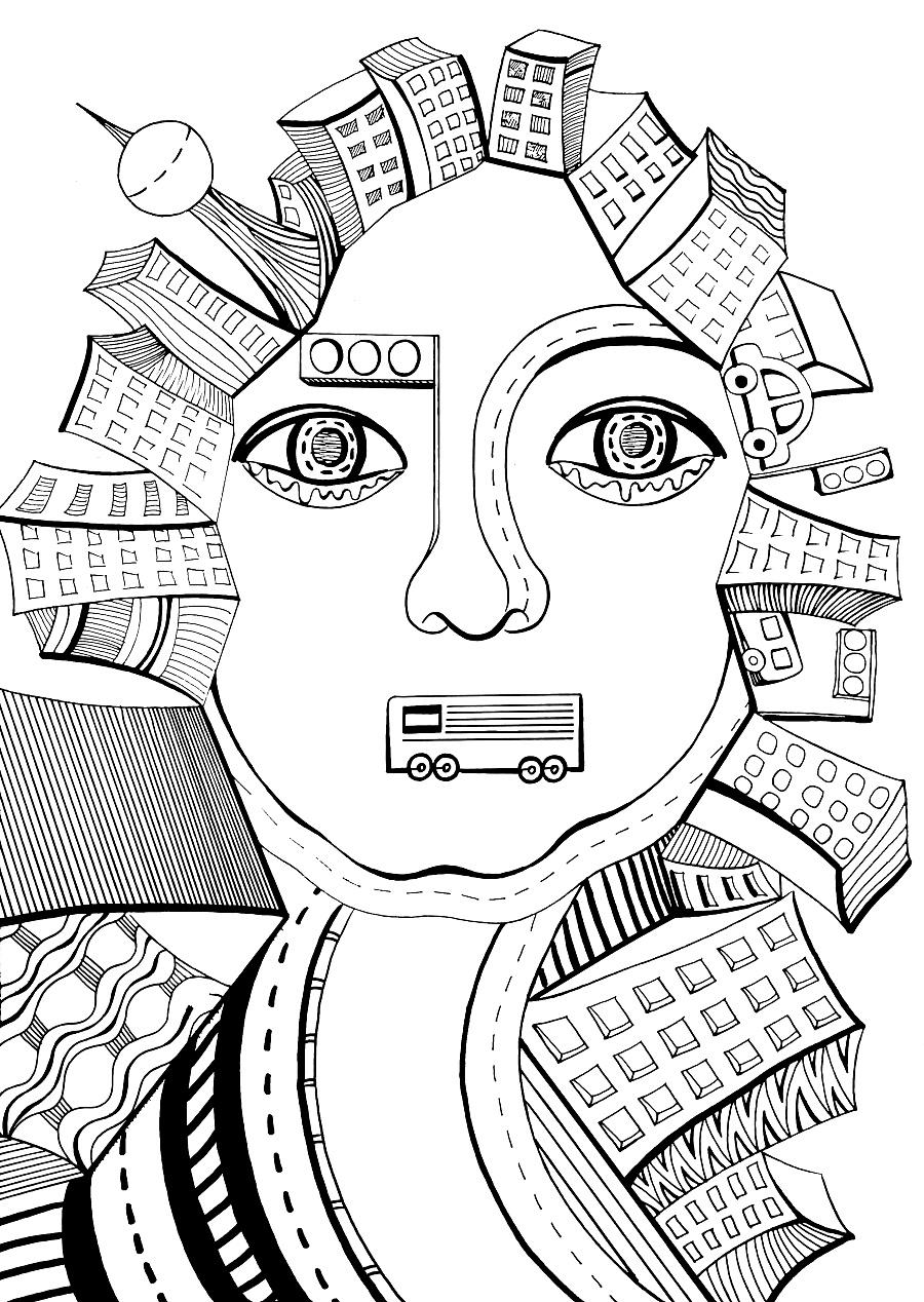 原创作品——黑白手绘 反思