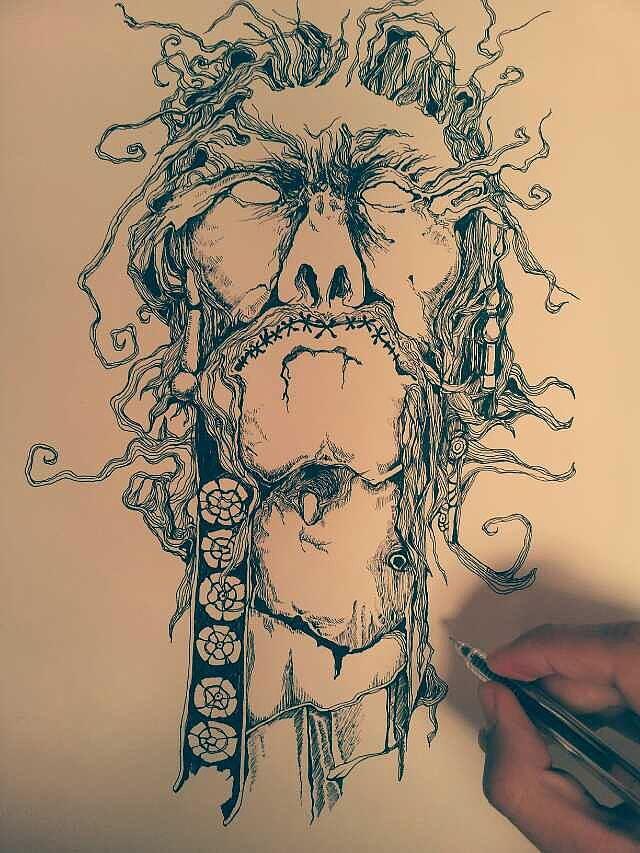 黑色碳素笔手绘插画