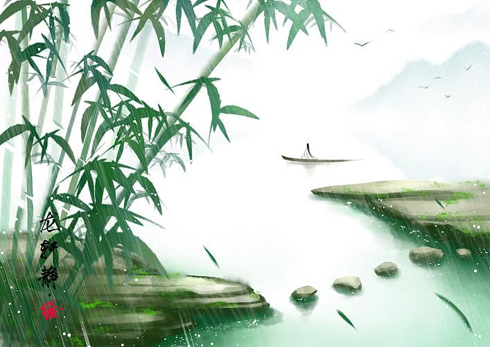 古风意境插画——斜风细雨不须归图片