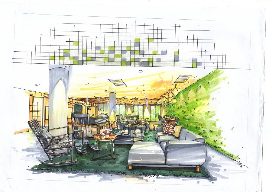 室内设计效果图马克笔手绘|室内设计|空间|李书妮