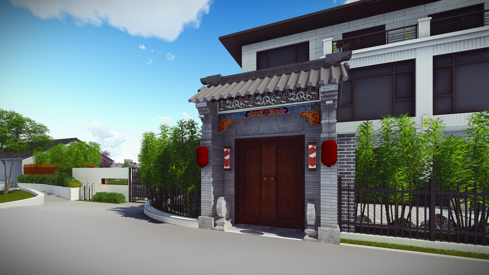 中式 别墅庭院图片