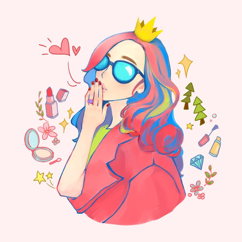 美妆插画图片