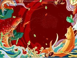 如鱼得水-鱼火锅墙绘
