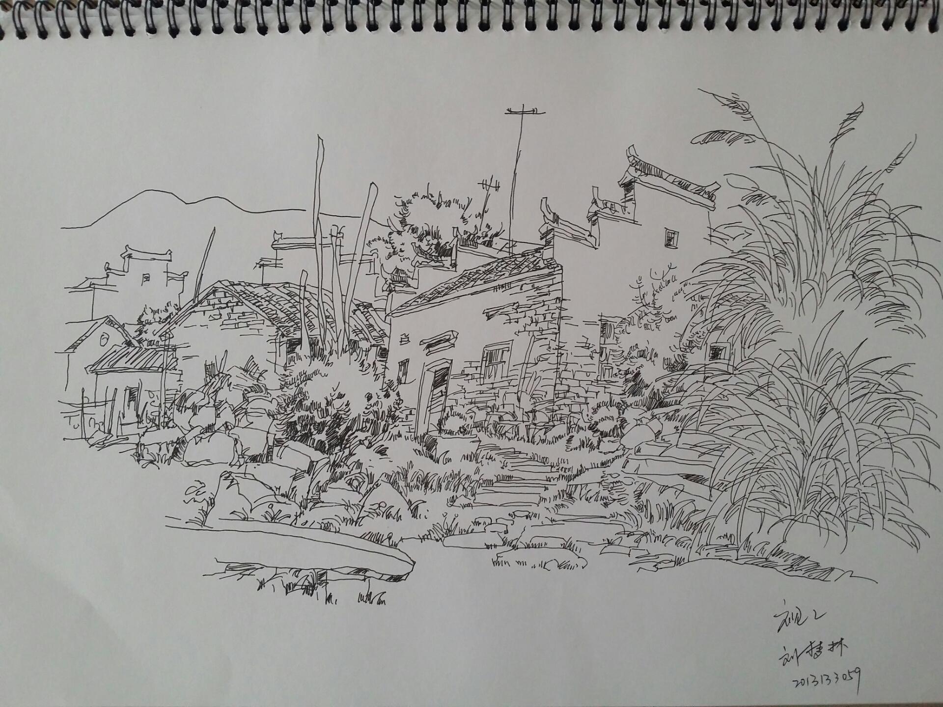 手绘风景临摹图