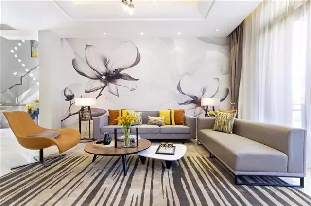 名门紫园别墅大宅260平轻奢现代风格装修需要多少钱---沙发背景墙图片