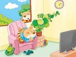 儿童 插画——保护视力