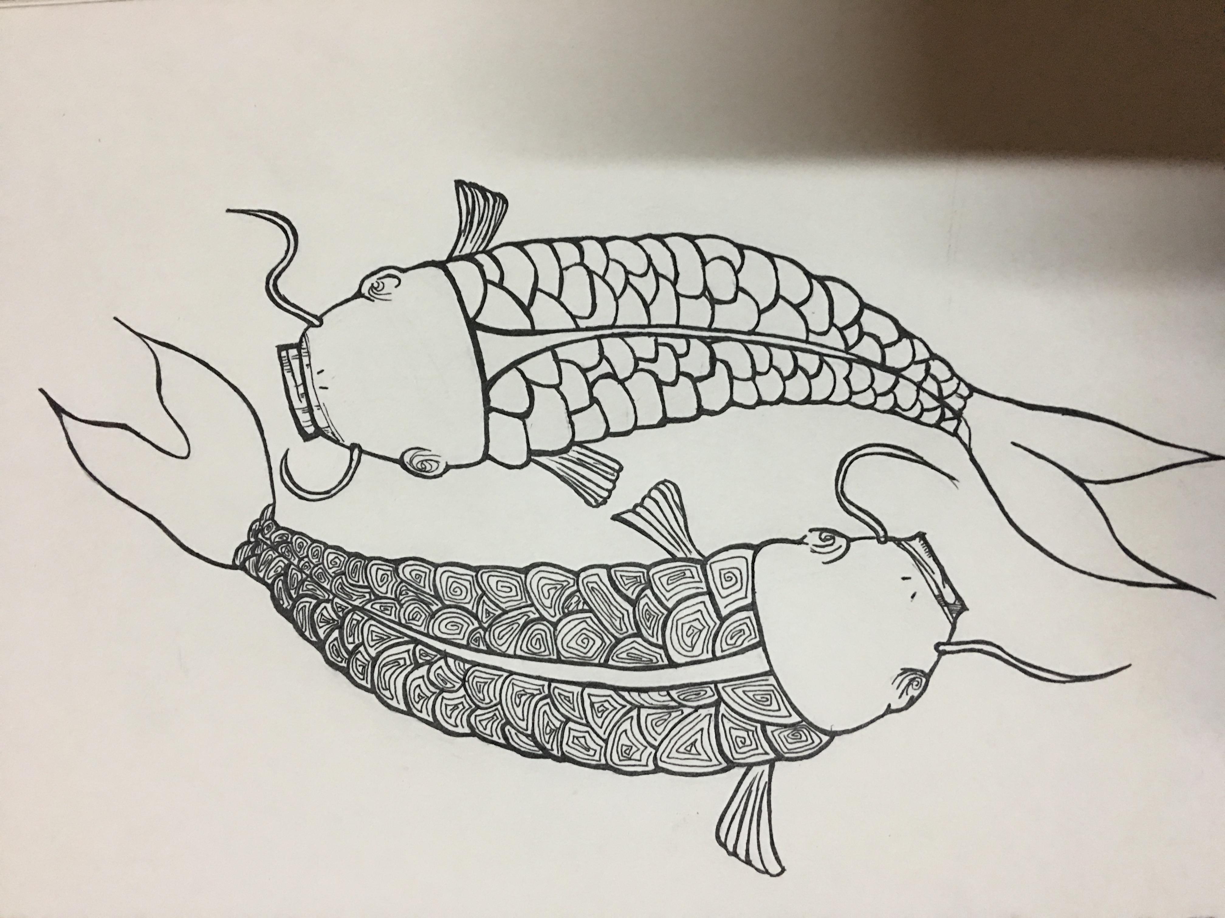 纯手绘锦鲤 年年有鱼 黑白画(临摹 改版)