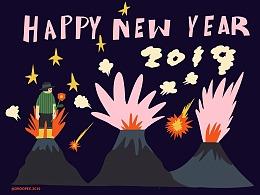 Happy new year 2019 动画/动态插画海报
