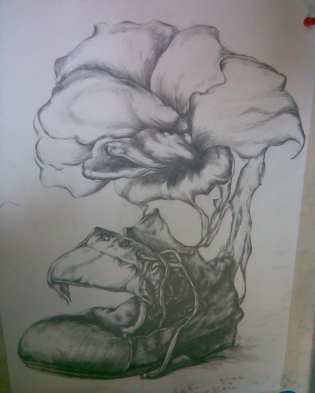 鞋子和花的结合创意图片