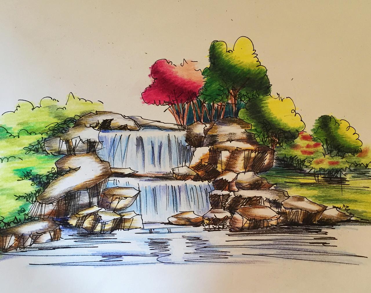 园林景观手绘效果图|纯艺术|彩铅|木味可乐 - 原创