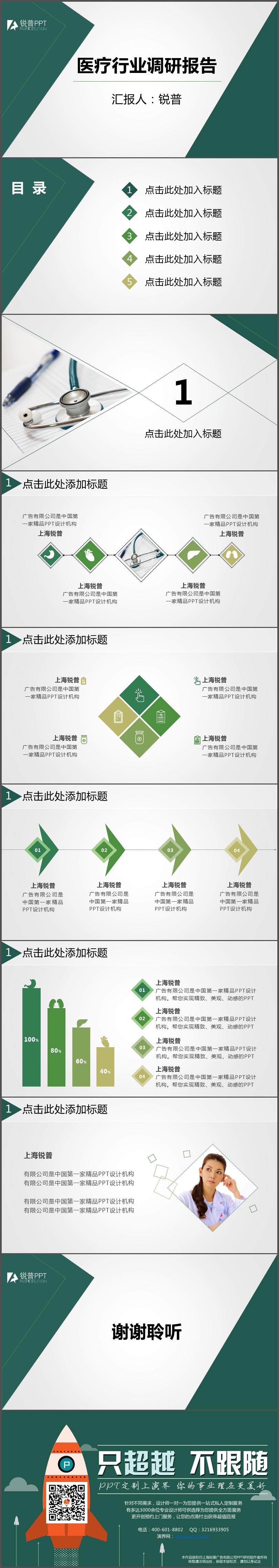 绿色医疗行业调研报告ppt模板|ppt/演示|平面|三月