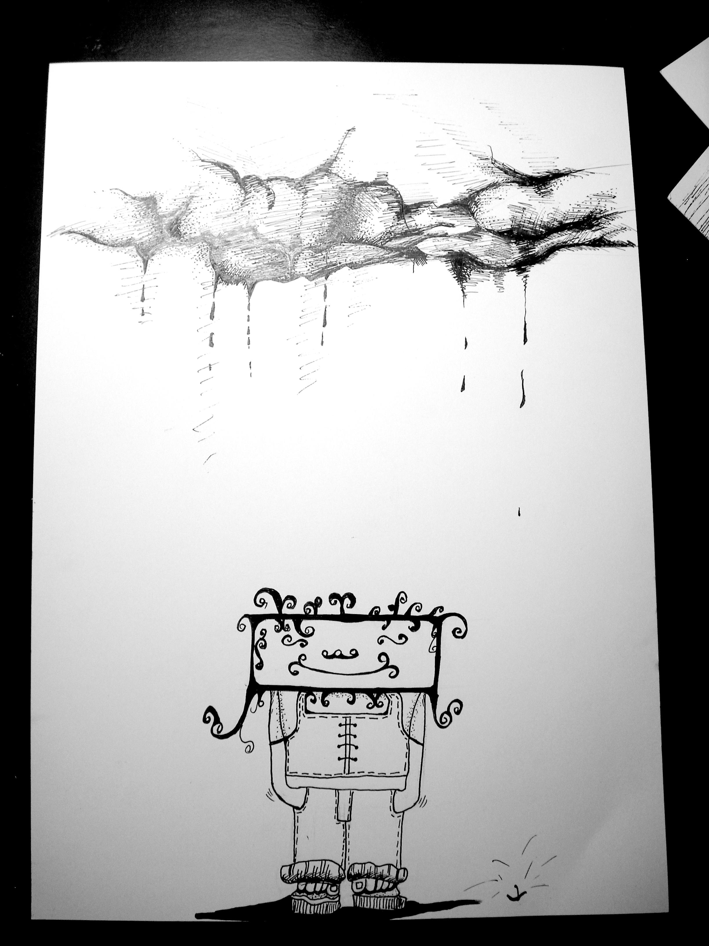 黑白手绘抽象画
