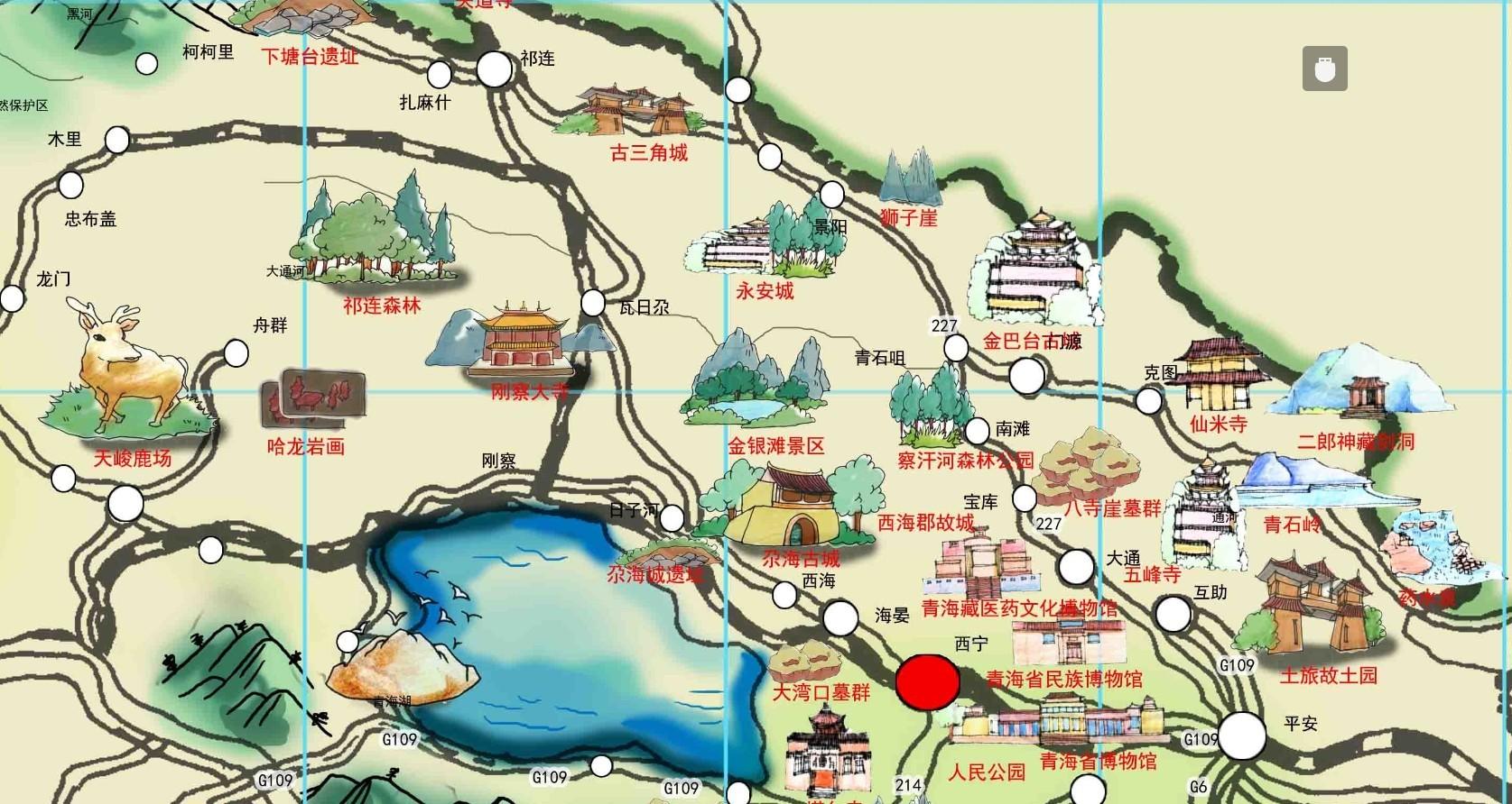 手绘青海旅游地图