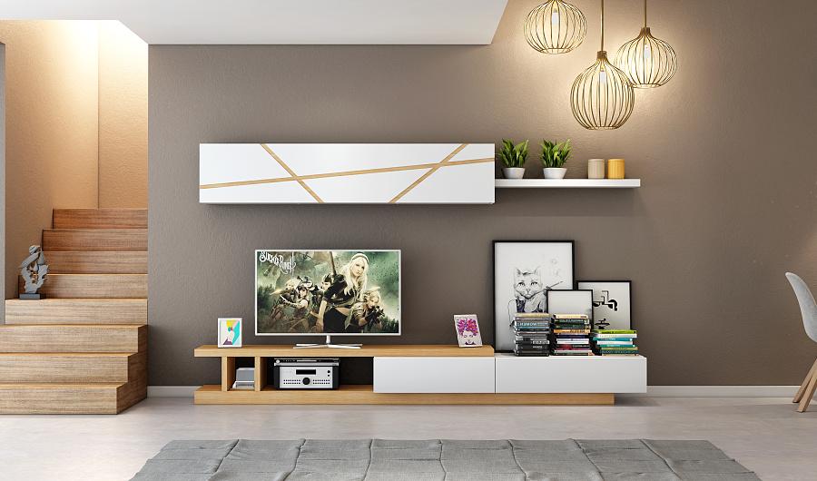 北欧实木茶几电视柜设计,客厅设计,新年第二弹图片
