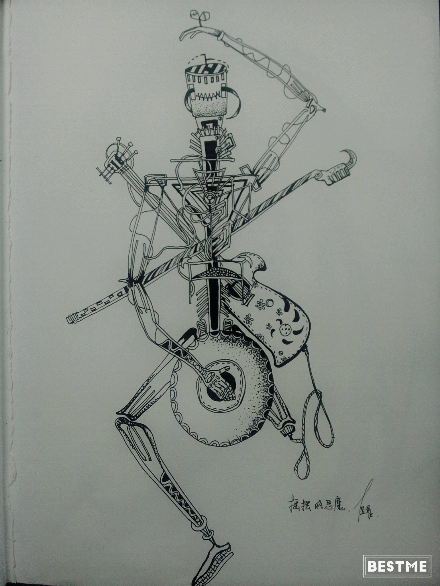 原创怪异手绘彩铅