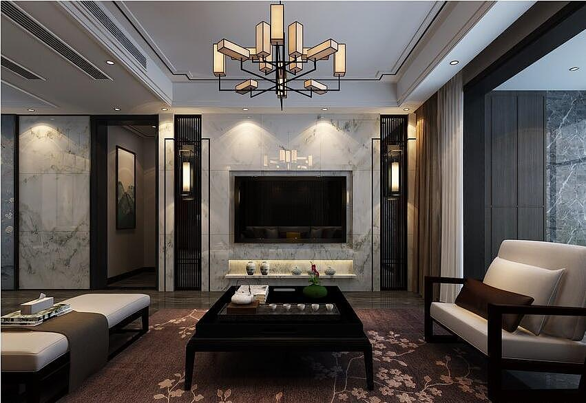 锦美南华府装修效果图180平四室两厅新中式风格设计---电视背景墙